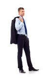 Business man with coat on shoulder Royalty Free Stock Photos