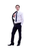 Business man with coat on shoulder Stock Photos