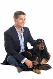 Business man and cocker spaniel Stock Photo