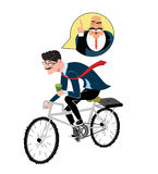 Business man with coffee ride a bike. Thinking about angry boss. Man ride to work. different types of hairstyle Royalty Free Illustration