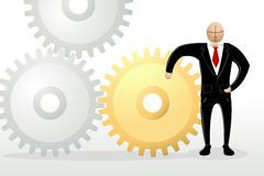 Business Man with Cog Wheel Royalty Free Stock Images