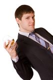 Business man with a cognac glass Royalty Free Stock Photos