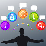 Business man and colorful bubble icon Stock Photography