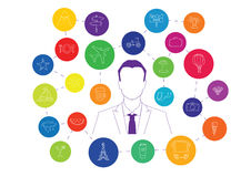 Business man and colorful vacation icons Stock Photos