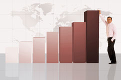Business man with column chart Royalty Free Stock Images