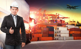 Business man and comercial ship with container on port use for i. Mport ,export and shipping logistic industry service and air cargo Royalty Free Stock Photography