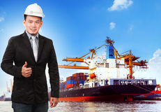 Business man and comercial ship with container on port  Stock Image