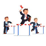 Business man competing in a steeplechase race. Following the leader with the red flag in hand jumping over the obstacle. Determined businessman. Flat style Stock Photo