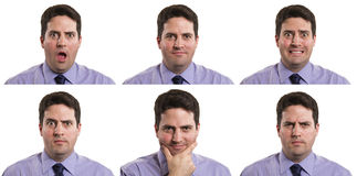 Business man composite. A stock photo of a business man with multiple expressions Royalty Free Stock Image