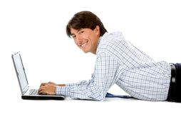 Business man with a computer Stock Photography