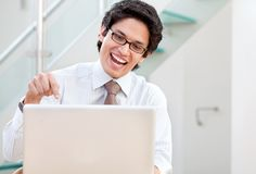 Business man on the computer Stock Photo