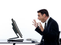 Business Man  computer computing surprised Royalty Free Stock Photography