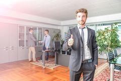 Business man at computer desk Royalty Free Stock Photography