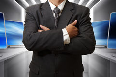 Business man and computer room. With success Stock Photos