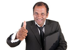Business man with computer and thumb up Royalty Free Stock Images