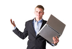 Business man with computer Stock Image