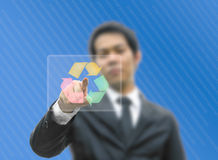 Business man concept pointing recycle logo Royalty Free Stock Photography
