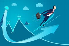 Business man concept vector illustration. Rating, experience, skill income, profit, success, progress up. Business concept vector illustration. Rating Royalty Free Stock Image