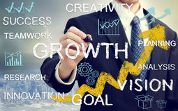 Business man with concepts representing growth, and success. Business man with concepts of growth, innovation, vision, success, and creativity with rising arrows stock photo