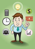 Business man and concepts to financial success. royalty free illustration