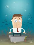 Business man in concrete block underwater Stock Photography