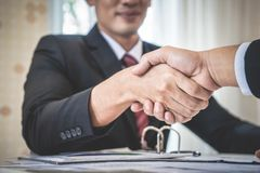 Business man with confidence handshake with partner. Happy business man with confidence handshake with partner Stock Images