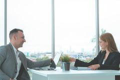 Business man with confidence handshake with partner. Happy business men with confidence handshake with partner stock photography