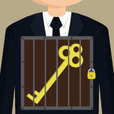 Business man confined key Royalty Free Stock Photo