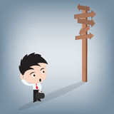 Business man confusing and looking at wood sign, illustration vector in flat design Stock Images
