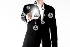 Business man connected to people isolated. Business social network or data transfer concept Stock Images
