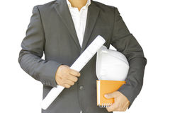 Business man construction isolated on white background. With project plan in his hand. Business man construction isolated on white background. With construction Stock Photo