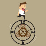 Business man and a control function of the time Royalty Free Stock Images