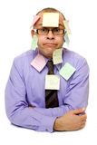Business man covered with sticky notes Stock Photos