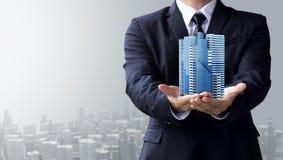 Business man create design modern building Royalty Free Stock Photo