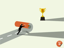 Business man create own way trophys Royalty Free Stock Images