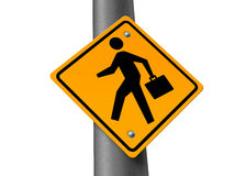 Business man crossing street sign Stock Photo