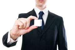 Business man with a cube in the hand Royalty Free Stock Photography