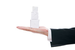 Business man with cube in hand Royalty Free Stock Photography