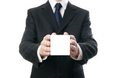 Business man with cube in hands Royalty Free Stock Image
