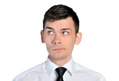 Business man curious face Royalty Free Stock Photography