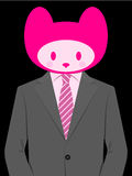 Business man with cute kitten head Royalty Free Stock Image