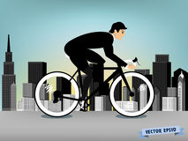 Business man cycling on the downtown road vector Stock Images