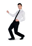 Business man dance happy. Isolated business man dance happy Stock Image
