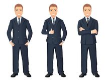 Business man in dark blue suit in different poses. Confident handsome man, full length, dress code. Stock Photo