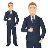 Business man in dark blue suit smiles and shows thumbs up. Full length portraits of elegant, handsome man in suit isolated on whit. Flat design. Vector cartoon Royalty Free Stock Image