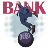 Business man with debt. Stock illustration. Stock illustration. Business man with debt stock illustration