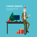 Business Man Decorated Workplace Office Merry Christmas And Happy New Year Businessman Wear Santa Hat Stock Photo