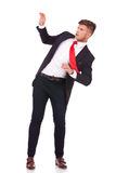 Business man in defensive pose Royalty Free Stock Images