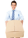 Business man delivering a package Stock Images