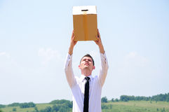 Business Man delivery box Royalty Free Stock Photo